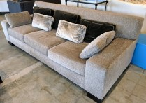 Custom Christian Grevstad Sofa. Holly Hunt indoor/outdoor fabric on frame. Dacron wrapped foam seats with down filled cushions. Original List: $12,000.- Modele's Price: 5500.-