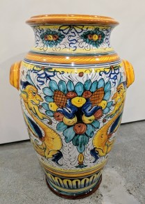 "Large Deruta jar with handles, from Italy. 20""h. Orig. List: $945. Modele's Price: 250.-"