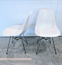 **ITEM NOW SOLD**Pair Herman Miller Eames side chairs. Purchased from Design Within Reach in 2014. Molded fiberglass with wire base. Current List: $459./each. Modele's Price: 550.-/pair
