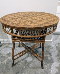 "**ITEM NOW SOLD** Antique English table; bamboo base with parquet inlay top. From the Jane Piper Reid Collection. 32.""d x 30""h. Orig. List: $4,930. Modele's Price: 950.-"