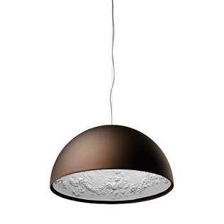Flos Sky Garden suspension dome pendant.Designed by Marcel Wanders. Dome shaped, cast plaster shade with painted white inside. Die cast aluminum and stainless steel body. Made in Italy. Current List: $2495.00. Modele's Price: 1400.-