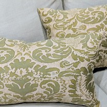 "**ITEM NOW SOLD** Fortuny pillows, priced separately. 18"" x 14.5"" and 20"" x 13"". Fortuny on one side only. 95.- each"