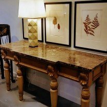 **ITEM NOW SOLD**French Country Style Console Table. -honed marble top sits on base, not attached. 895.-