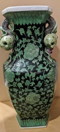 "**ITEM NOW SOLD** Contemporary Chinese vase with pomegranate handles. 16""h. 150.-"