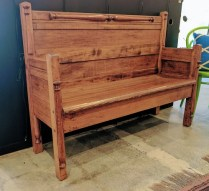 **ITEM NOW SOLD**Hand built vintage bench. Made from reclaimed woods in Syracuse, NY. Signed under seat. 350.-