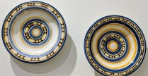 "Two Italian wall plates. 10"" d. Orig. List: over $200. each Modele's Price: 25.- each"