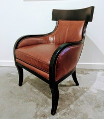 **ITEM NOW SOLD**Crate and Barrel 'Library' chair. Bordeaux Leather. 250.-