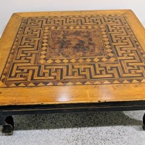 "**ITEM NOW SOLD** Syrian low table with inlay and burl center. Age not known. 24.25"" sq. x 9.5""h 250.-"