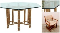 **ITEM NOW SOLD**McGuire Hexagonal Glass Table Dining Set with 6 chairs