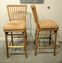 **ITEM NOW SOLD**Pair McGuire Prescott Bar stools. Showroom samples. Brass plate on front rail. Ultrasuede seat upholstery. Finish- 'Ritz'. Original List:$3190.-/pair. Modele's Price: 395.-pair