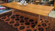 **ITEM NOW SOLD**McKinnon Trestle Dinning Table. Solid Mahogany. Built locally. Current List: $3269.-Modele's Price: 1,850.-