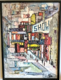 """**ITEM NOW SOLD**Mid Century Painting. Oil on canvas. Purchased in 1965 from gallery in Boise, Idaho. Signed 'Kim'. 34.75"""" w x 47""""h. 495.-"""