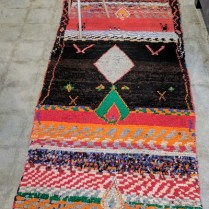"**ITEM NOW SOLD** Moroccan ' Boujad' rug, hand knotted. 3'1"" x 6'9"" Original List: $2500.- Modele's Price: 550.-"