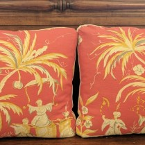 **ITEM NOW SOLD**Pair Custom Coral Cushions. 150.- pair