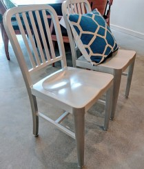 **ITEM NOW SOLD** Pair Eurostyle Aluminium Dining Chairs. Current List: $390.-/pair. Modele's Price: 150.-/pair
