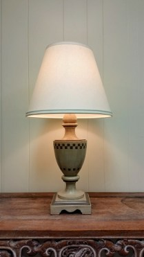 Pair 'Nancy Corzine' Painted Lamps. 595.-/Pair.