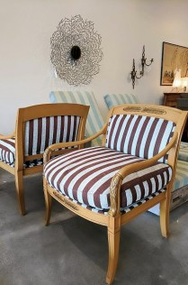 **ITEM NOW SOLD**Pair wooden frame armchairs. Age/manufacturer unknown. 495.-/pair