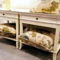 **ITEM NOW SOLD**Pair Yves Delorme Nightstands. Original Retail Price: $1000.- each. Modele's Price 850.-