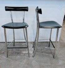 **ITEM NOW SOLD** Pair Arrben 'Yoko' counter stools. Purchased in Egbert's in 2004. Stored the last 5 years. Leather with chrome. Original List: $422.-each. Modele's price: 350.- pair.