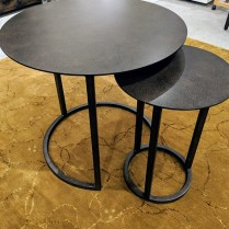 "**ITEM NOW SOLD** Restoration Hardware 'Mercer' round nesting tables, set/2. Never used, blackened rust finish. Large table: 28""dia. x 26""h. Current List: $596. (with paid membership) plus 199. shipping. Modele's Price: 450.- set/2"