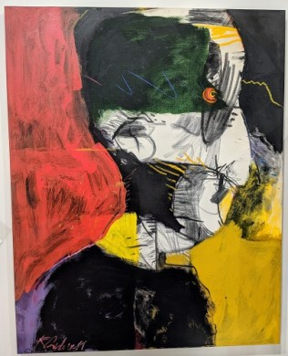 """Reed Caldwell 'The True Believer', 1994. Acrylic, charcoal and pastel on canvas, 48""""w x 60""""h. Orig. List: $3000. Modele's Price: 1500.-"""