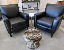 """**ITEM NOW SOLD** Pair Room and Board 'Harper' leather lounge chairs in 'Urbino Black'. Less than six months old. 31""""w x 34""""d x 34.5""""h Current List: $2,199. Each Modele's Price: 2595. pair"""