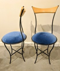 **ITEM NOW SOLD**Pair Iron/ wood 'September' chairs by Paul Ludick. Purchased in NY. Several chairs by Ludick are collectible. 450.-/pair.