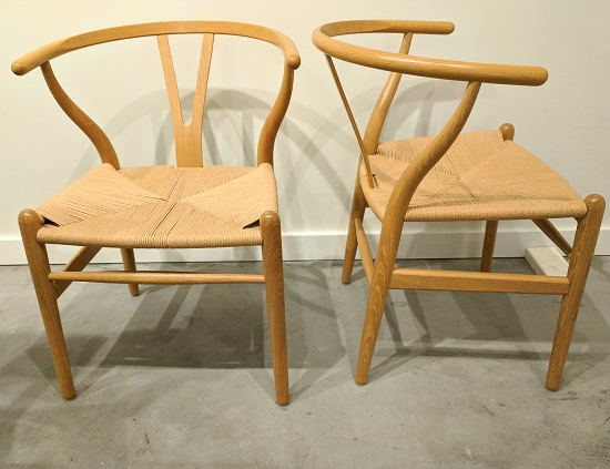 "Set/10 ""Wishbone"" chairs by Carl Hansen & Son. Design by Hans J. Wegner in 1950. Purchased at Egbert's in 1997. White oak, clear lacquer finish and natural papercord seats. Current list: $695./each ($6950.-). Modele's Price: 3950.- set/10"