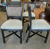 **ITEM NOW SOLD** Set/ 4 McGuire Chairs. Exact age unknown. Double caned backs. 'X' struts on base. Professionally refinished with dark stain. Upholstered seats. 1395.-/set.