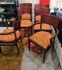 **ITEM NOW SOLD** Set/ 6 Loewenstein dining chairs. 2 arm and 4 side chairs. Custom upholstery. 1250.-/set 6