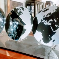 **ITEM NOW SOLD**Set of 3 mirrored World Map Panels. $25.- /set