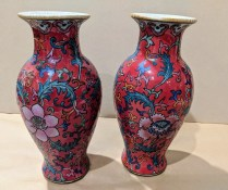 "Two contemporary decorative Chinese vases. 8.25"" h. Orig. List: $192. each. Sold separately. Modele's Price: 25. each"