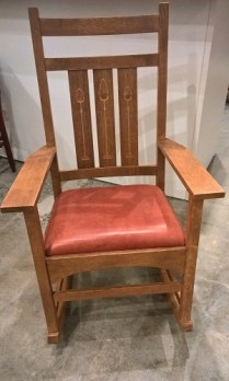 "**ITEM NOW SOLD** Stickley Harvey Ellis Rocker in solid oak with inlay detail on back slats, leather seat. 19 years old. 24.5""w x 31.25""d x 42""h. Current List: $1500-1600. Modele's Price: 750.-"