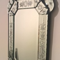"**ITEM NOW SOLD** Ventian-style mirror. 16.25""w x 30.25""h. 150.-"