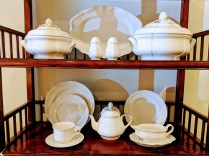 Villeory & Boch 'Chambord' 62 piece set (includes two covered serving pieces, platter, gravy boat, and teapot). Current List: Approx. $1,600. Modele's Price: 495.- set