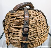 "**ITEM NOW SOLD** Vintage fishing basket. 12.5"" dia. x 11""h. 95.-"