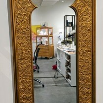 "**ITEM NOW SOLD** Vintage mirror. Purchased in NYC in 1964. 17.5""w x 47.5""h 250.-"