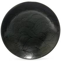 Aranami 'Wave' serving bowl, black and silver. 30.-