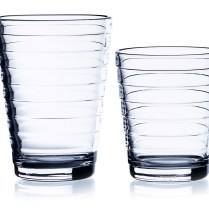 'Aino Aalto' tumblers. Small: 7.75 oz. 10.- each. Large: 11 oz. 12.50.- each. Available in clear, grey, water green, light blue, sea blue.