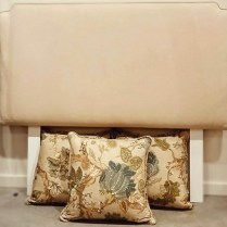 **ITEM NOW SOLD**Custom Designed Queen Headboard. Includes 3 Euro-square floral linen pillows. 650.-/set