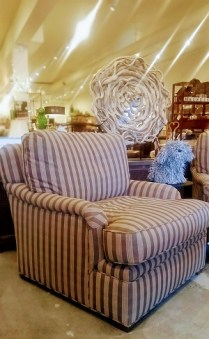 **ITEM NOW SOLD**Pair Village Interiors Custom Club Chairs. Down and Feather filled Cushions. 2,950./ pair