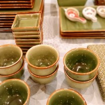 **ITEM NOW SOLD**Pottery Barn 78 piece 'Asian Square Light Green' Dinnerware Set. Original retail price: $800-900. Model's Price: 350.-set