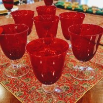 **ITEM NOW SOLD**Red Water Lenox Glasses. Set/12. 125.- set