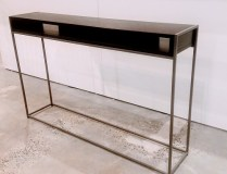 **ITEM NOW SOLD**Tag Furniture 'Wabash' Storage Console. Black 'Java Wood' top with 'Silver Sparkle' Frame. Current listed price: $528.- Modele's Price: 275.-