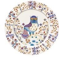 "'Taika' dinner plate in white. 10.75"" Also available in blue and black/white. 45. each."
