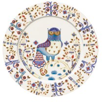 """'Taika' dinner plate in white. 10.75"""" Also available in blue and black/white. 45. each."""