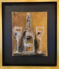 "**ITEM NOW SOLD**Warren Knapp Painting. Signed. Acrylic. Custom framed in 2007. 13""w x 15.5"" h.195.-"