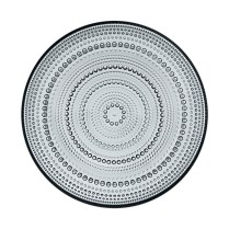 "'Kastehelmi' (dewdrop) dinner plate, 9.75"". Available in clear or grey. 45.- each"