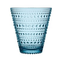 'Kastehelmi' (dewdrop) tumbler, 10oz. Available in clear, light blue, aqua, moss green, grey, rain and sea blue. 15.- each