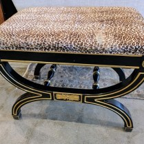 **ITEM NOW SOLD**Empire style stool with hide seat.295.-